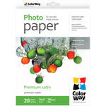 "ColorWay Premium Satin Photo Paper (4 x 6"", 20 Sheets)"