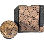 Artisan Obscura Soft Shutter Release & Hot Shoe Cover Set with Etched Argyle Design (Large Convex, Threaded, Walnut Wood)