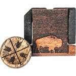 Artisan Obscura Soft Shutter Release & Hot Shoe Cover Set with Etched Buffalo Design (Small Convex, Threaded, Walnut Wood)