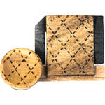 Artisan Obscura Soft Shutter Release & Hot Shoe Cover Set with Etched Argyle Design (Large Concave, Threaded, Wild Olive Wood)