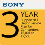 Sony 3-Year SupportNET Depot Service Plan for Cameras 5,001 to $7,5000
