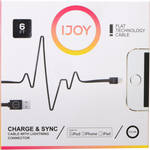 iJOY Lightning to USB Flat Line Cable (6', Black)