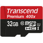 Transcend 32GB Premium 400x microSDHC UHS-I Memory Card with SD Adapter