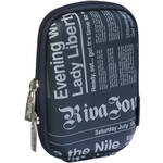 RIVACASE 7103 Series Compact Digital Camera Case (Dark Blue, Newspaper Pattern)