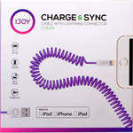 iJOY Coiled Lightning to USB 2.0 Cable (3', Purple)