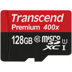 Transcend 128GB Premium 400x microSDXC UHS-I Memory Card with SD Adapter