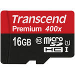 Transcend 16GB Premium 400x microSDHC UHS-I Memory Card with SD Adapter