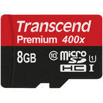 Transcend 8GB Premium 400x microSDHC UHS-I Memory Card with SD Adapter