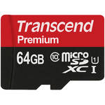 Transcend 64GB Premium 400x microSDXC UHS-I Memory Card with SD Adapter