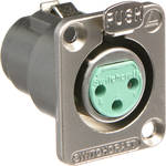 Switchcraft DE Series 3-Pin XLR Female Panel Mount Connector (Nickel Finish, Silver Contacts)