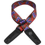 "Lock-It 2"" Bob Masse Series Purple Flowers Guitar Strap"