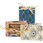 Lineco Mini Kit Ribbon Bound Album (Peacock Feathers, Travel Stickers and Blue Geometric Paper, Pack of 3)