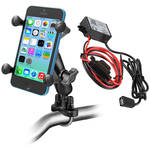 RAM MOUNTS Handlebar Rail Mount Kit with Universal X-Grip Cradle & USB Type A Step Down Converter/Charger