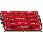 Ballistix 64GB Sport LT Series DDR4 2400 MHz UDIMM Memory Kit (4 x 16GB, Red)