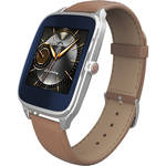 "ASUS ZenWatch 2 1.63"" Smartwatch with HyperCharge (Silver Case, Camel Leather Band)"