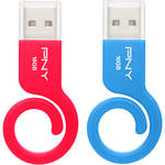PNY Technologies Monkey Tail 16GB USB Drive (2-Pack, Blue and Red)