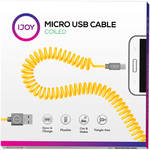 iJOY USB 2.0 Type-A to Micro-USB Coiled Charge & Sync Cable (3', Yellow/Gray)