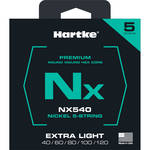Hartke NX540 Nickel-Plated Round Wound Electric Bass Guitar Strings (5-String Set, Extra Light, 40 - 120)