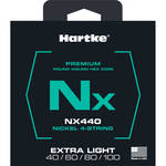 Hartke NX440 Nickel-Plated Round Wound Electric Bass Guitar Strings (4-String Set, Extra Light, 40 - 100)