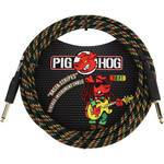 Pig Hog Vintage-Series Woven Instrument Cable (Rasta Stripes, 10')