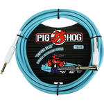 Pig Hog Vintage-Series Woven Instrument Cable (Daphne Blue, 10', Right Angle)