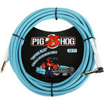 Pig Hog Vintage-Series Woven Instrument Cable (Daphne Blue, 20', Right Angle)