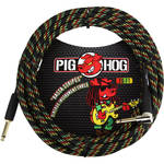 Pig Hog Vintage-Series Woven Instrument Cable (Rasta Stripes, 20', Right Angle)