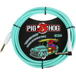 Pig Hog Vintage-Series Woven Instrument Cable (Seafoam Green, 10', Right Angle)