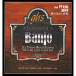 GHS PF120 Light Stainless Steel Banjo Strings (6-String Set, Loop End, 11 - 42)
