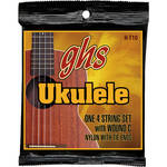GHS H-T10 Tenor with Wound 3rd Black Nylon Ukulele Strings (4-String Set, Tie End, 28 - 36)