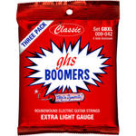 GHS GBXLC3 PACK Extra Light Boomers Multi-Pack Roundwound Electric Guitar Strings (6-String Set, 9 - 42, 3-Pack)