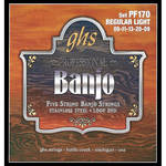 GHS PF170 Regular Light Stainless Steel Banjo Strings (5-String Set, Loop End, 9 - 20)