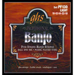 GHS PF130 Light Nickel-Plated Banjo Strings (5-String Set, Ball End, 10 - 22)