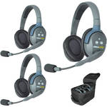 Eartec UL3D UltraLITE 3-Person Headset System with Batteries, Charger & Case (Dual-Eared)