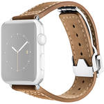 MONOWEAR Deployant Leather Band for 42mm Apple Watch (Brown, Silver Hardware)