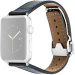 MONOWEAR Deployant Leather Band for 42mm Apple Watch (Navy, Silver Hardware)
