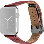 MONOWEAR Deployant Leather Band for 42mm Apple Watch (Red, Space Gray Hardware)
