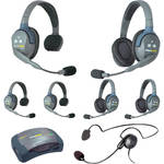 Eartec 7-Person HUB System with One Cyber, Three Double & Three Single Remote Headsets