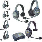 Eartec UltraLITE 7-Person HUB Intercom System with 1 Max4G Single, 3 Single Remote, & 3 Double Remote Headsets