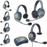 Eartec UltraLITE 7-Person HUB Intercom System with 1 Max4G Single, 2 Single Remote, & 4 Double Remote Headsets