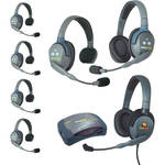 Eartec UltraLITE 7-Person HUB Intercom System with 1 Max4G Single, 5 Single Remote, & 1 Double Remote Headsets