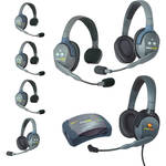 Eartec UltraLITE 7-Person HUB Intercom System with 1 Max4G Single, 4 Single Remote, & 2 Double Remote Headsets