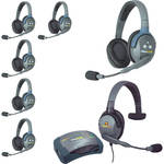 Eartec UltraLITE 7-Person HUB Intercom System with 1 Max4G Single & 6 Double Remote Headsets