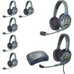 Eartec UltraLITE 7-Person HUB Intercom System with 1 Max4G Double & 6 Double Remote Headsets