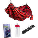 Grand Trunk Parachute Nylon Double Hammock Essentials Kit (Black/Red)