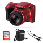 Canon PowerShot SX410 IS Digital Camera Basic Kit (Red)