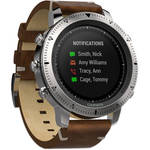 Garmin fenix Chronos Multi-Sport GPS Watch (Steel Case with Leather Band)
