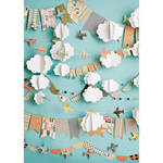 PepperLu PolyPaper Photo Backdrop (5 x 7', Cloudy Day Airplanes Pattern)