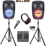 QFX Dual Portable Party Bluetooth Speakers with Mixer (Black)