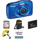 Nikon COOLPIX S33 Digital Camera Deluxe Kit (Blue, Refurbished)